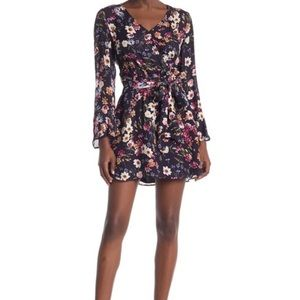 Parker Amanda Floral Surplice Silk Blend Dress